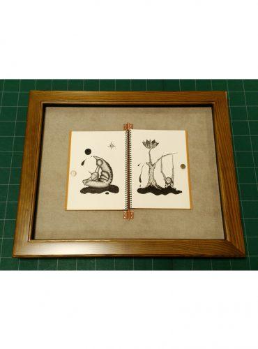 スケッチブックごとペン画の作品を額装
