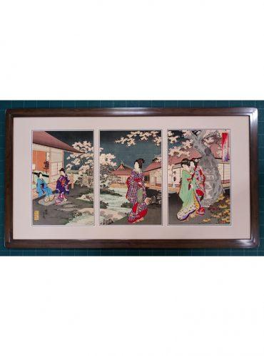 揚州 周延 3枚続き木版画の額装